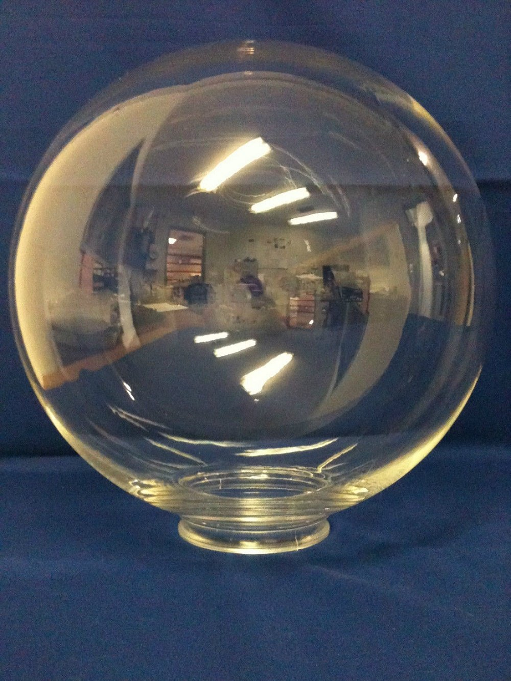 14 in Neckless Opening White Acrylic Globe with 5.25 in American 3201-14020-003 by American Made Plastics