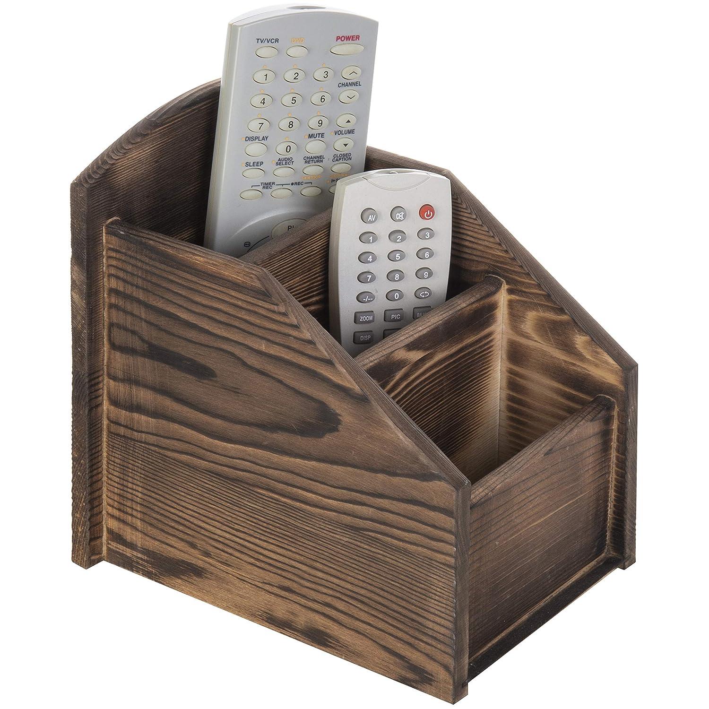 MyGift 3-Slot Burnt Wood Remote Control Caddy/Media Organizer