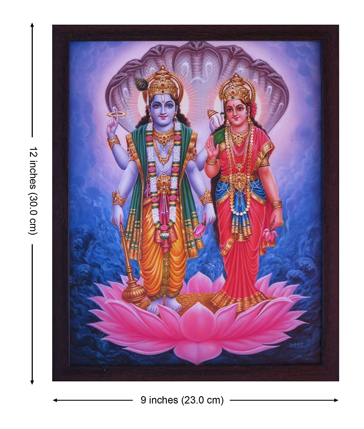 Must for Hindu Religious and Worship Purpose Handicraft Store Vishnu and Lakshmi Standing Under The Hood of Sheshnag Poster Painting with framing