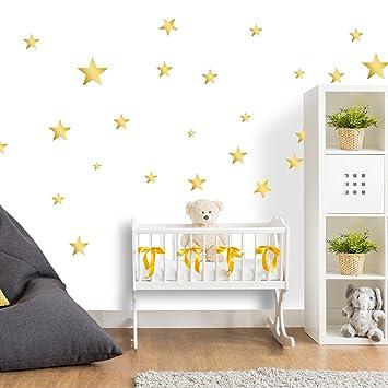 25 Sterne Wandtattoo fürs Kinderzimmer - Wandsticker Set - Pastell Farben,  Baby Sternenhimmel zum Kleben Wandaufkleber Sticker Wanddeko - Wandfolie,  ...