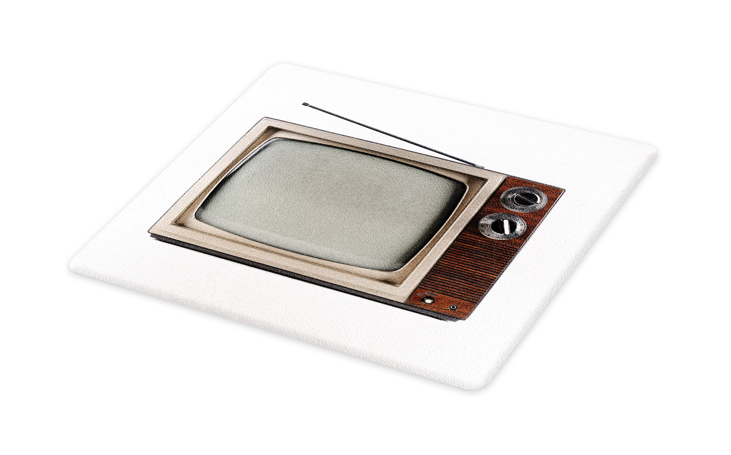 Lunarable 1950s Cutting Board, Old Television with Antenna Broadcast Display Antique TV Historic Movie Screen, Decorative Tempered Glass Cutting and Serving Board, Small Size, Umber Taupe White