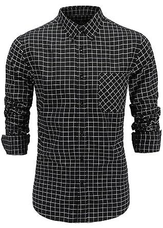 BU2H Men Solid Color Casual Business Long Sleeve Cotton Loose Fit Button Down Dress Shirt