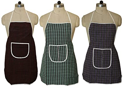 Kuber Industries Checkered PVC 3 Piece Kitchen Apron with Front Pocket Set - Multicolour