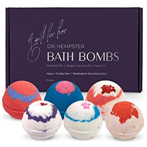 Organic Bath Bomb Gift Set For Women - 6 Pack - Gifts for Her - Natural Coconut and Hemp Bath Bombs with Essential Oils – Beautiful Gift Box for Girlfriend or Wife - Made in the USA
