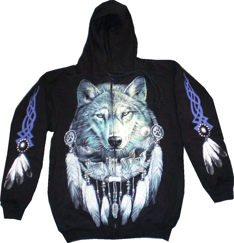 Evil Wear Herren Damen Kaputzen-Pullover schwarz mit Motiv Wolf Sweatshirt  14