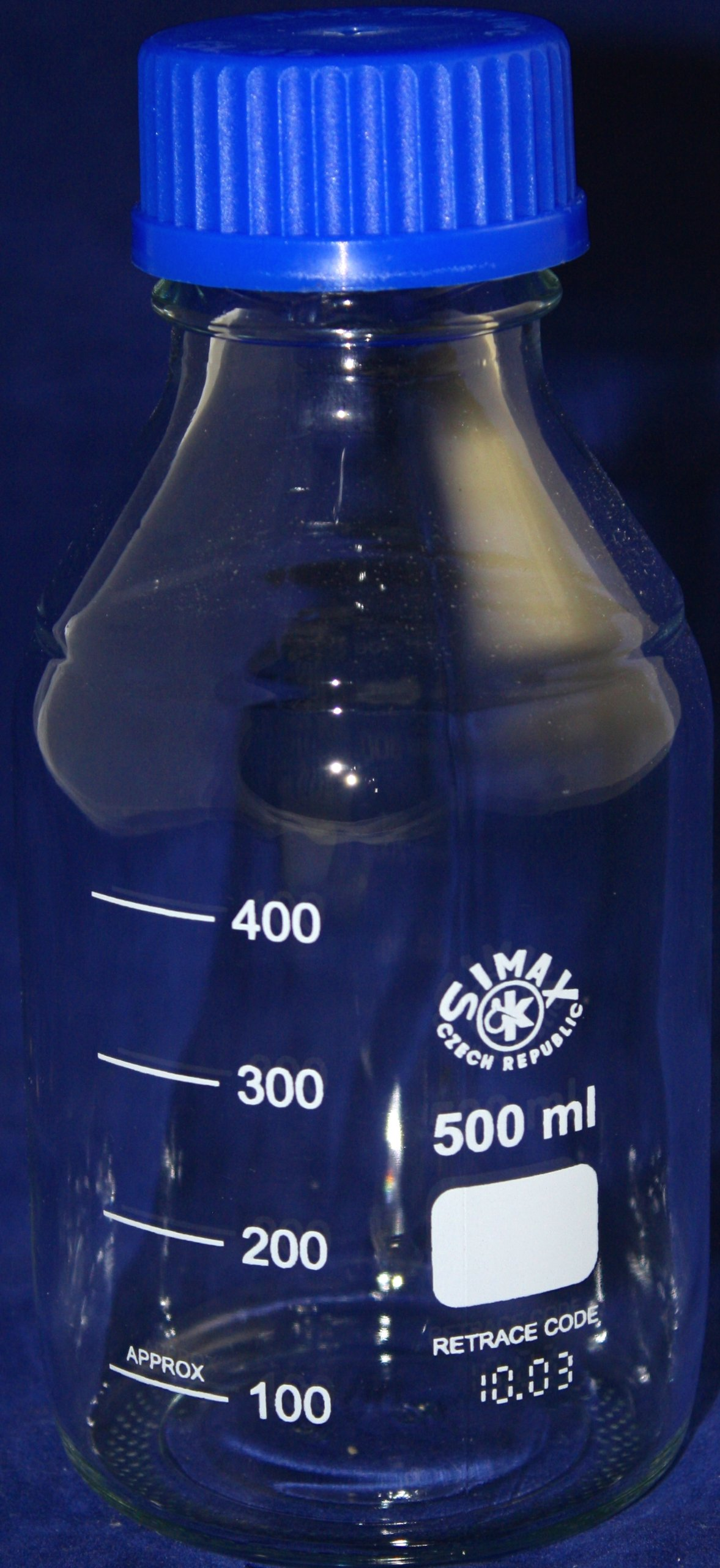 500mL Simax Glass Media Storage Bottle w/Cap