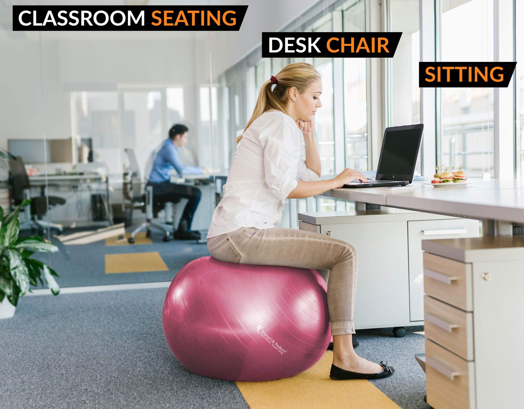 Exercise Ball for Yoga, Balance, Stability from SmarterLife - Fitness, Pilates, Birthing, Therapy, Office Ball Chair, Classroom Flexible Seating - Anti Burst, No Slip, Workout Guide (Pink, 65 cm) by SmarterLife Products (Image #6)