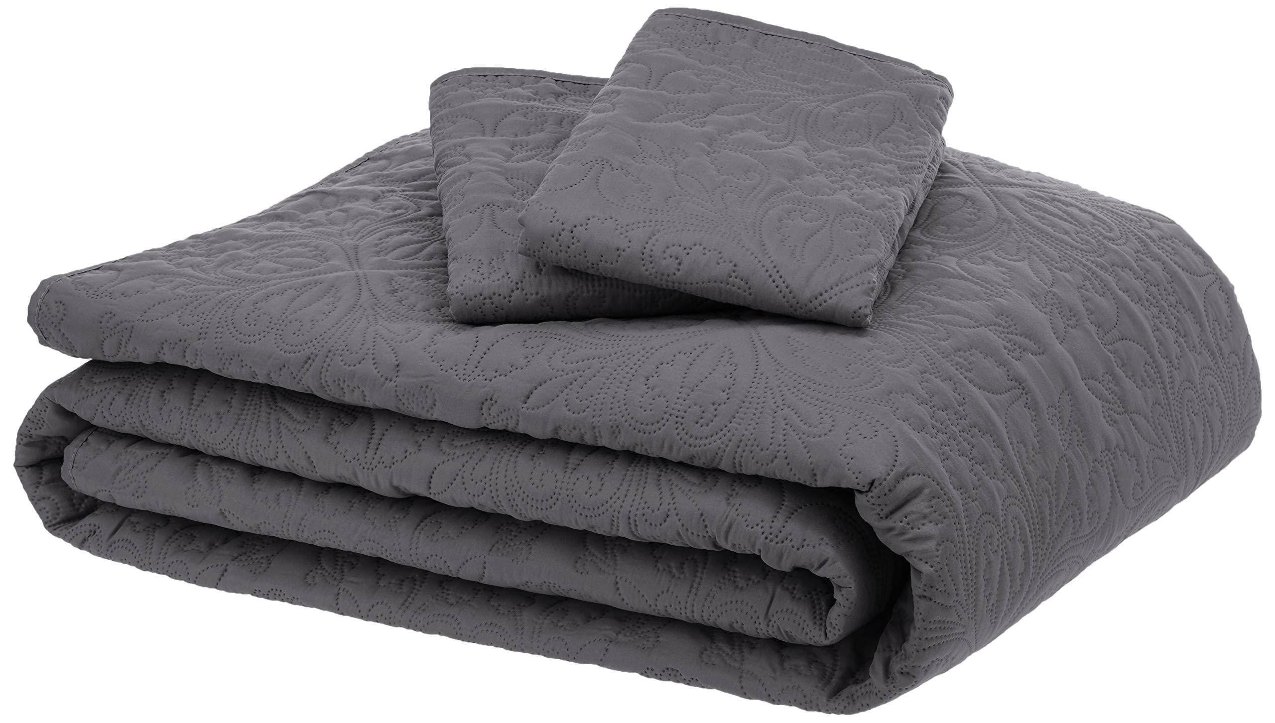 AmazonBasics Oversized Quilt Coverlet Bed Set - King, Dark Grey Floral