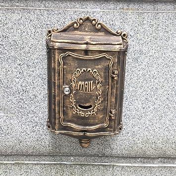 HZH Buzón de correo de bronce al aire libre revista de periódico de aluminio fundido Buzón