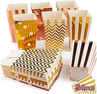 VIBIRIT Paquete de 54 Cajas de Palomitas de maíz, cartón de Grado alimenticio Contenedor de Dulces