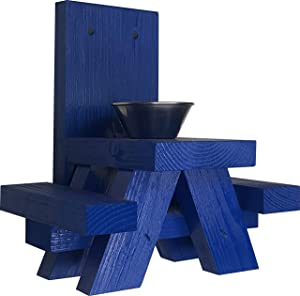 Squirrel Feeders for Outside – Blue Squirrel Feeder Picnic Table with Cup Feed for Squirrel Food – Tree or Post Mount Squirrel Picnic Table Feeder - Made in USA - Loose Corn or Seed or Peanuts