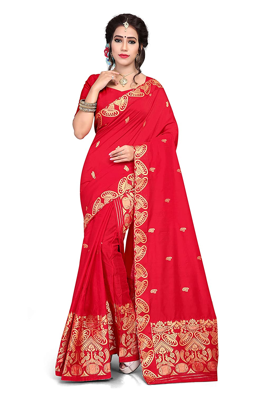 S Kiran's Women's Cotton-Chanderi Assamese Machine-Weaving Mekhela Chador Saree (Red)
