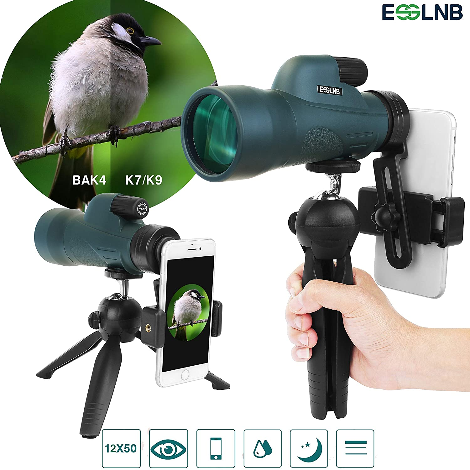 ESSLNB Monocular Telescope 12X50 with Smartphone Adapter and Extendable Tripod IPX7 Waterproof BAK4 Prism Green FMC for Bird Watching Hunting Camping