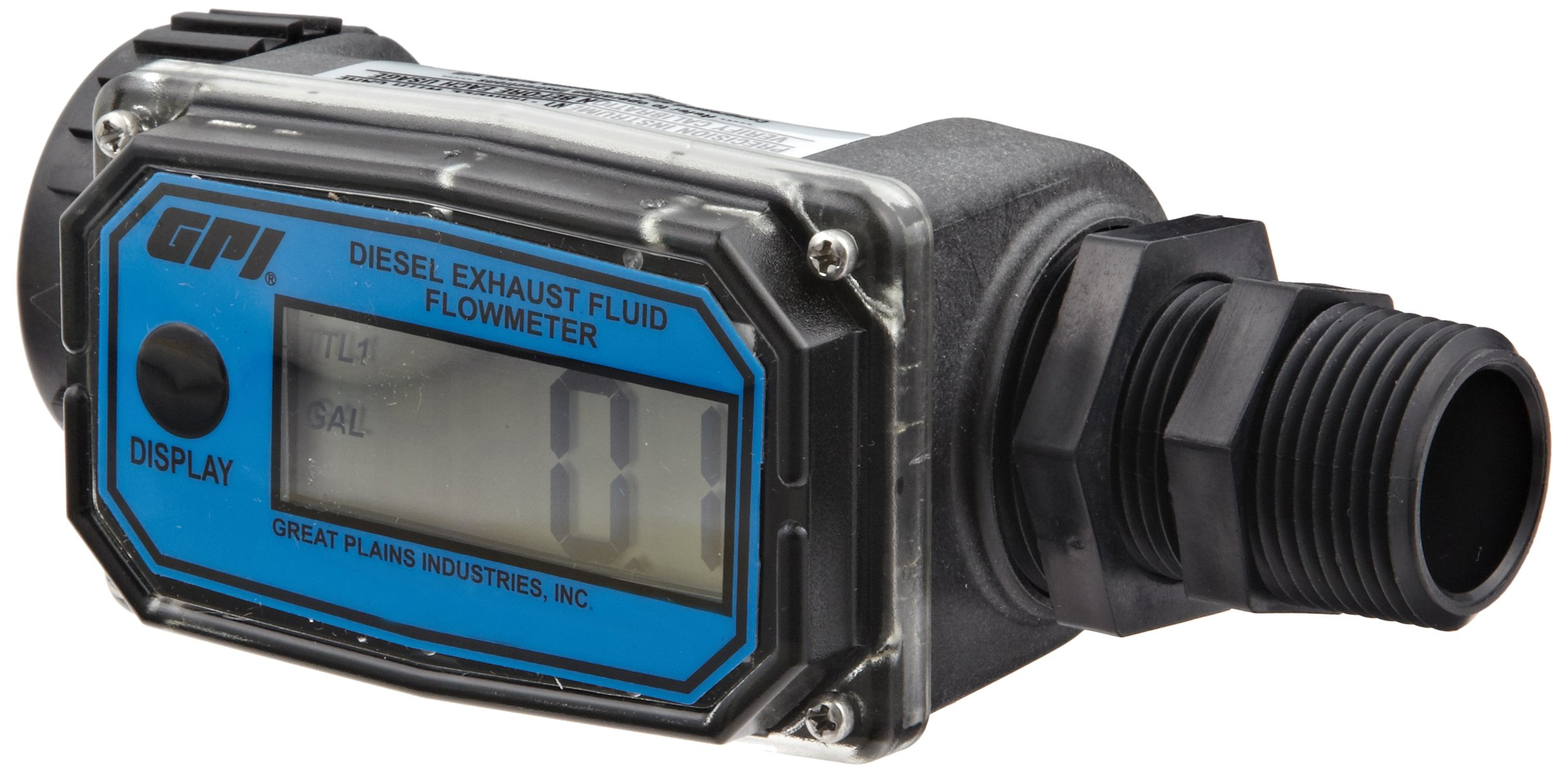 GPI 113255-24, 01N31GM-U Nylon Turbine DEF Flowmeter with Digital LCD Display, 3-30 GPM, 1-Inch FNPT Inlet/Outlet