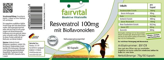 fairvital - 90 cápsulas vegetarianas de resveratrol (100 mg) - Con quercetina, rutina y PCO: Amazon.es: Salud y cuidado personal