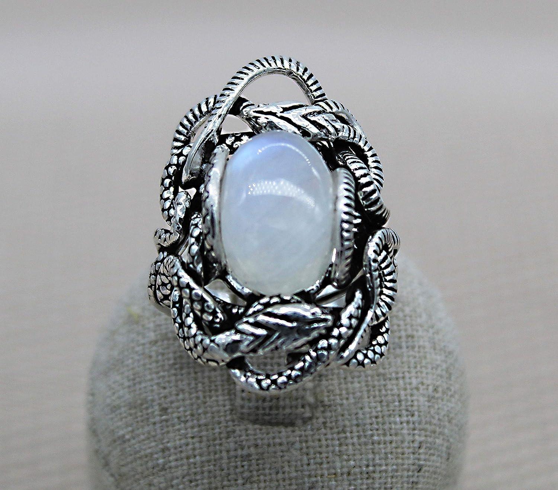 Gran anillo de piedra. Anillo de piedra lunar. Anillo de piedra natal de junio. Anillo de plata esterlina
