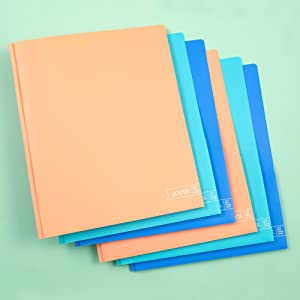 Yoobi | Folder | Poly Material w Prongs and Embossed Lines | Multicolor Variety Pack of 6, Blue (YOOB1202452)