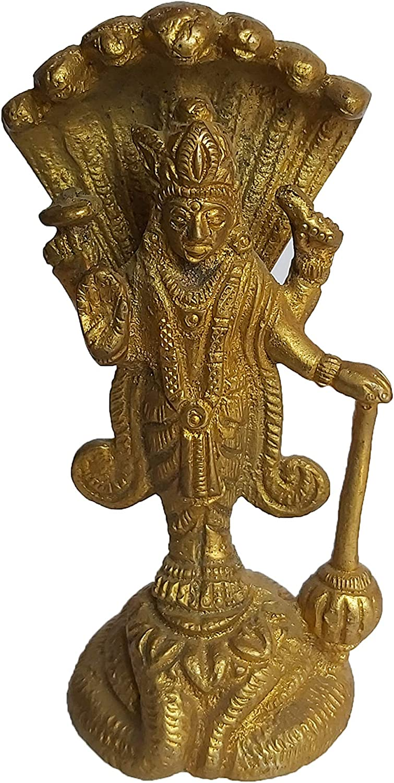 PARIJAT HANDICRAFT Brass Statue of Lord Vishnu Hindu god Idol Sculpture Home Temple décor Gift Pooja Article (Golden)