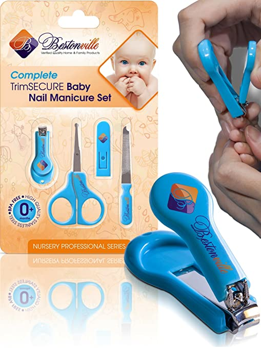 Baby Nail Clippers Set with Scissors and File - Complete Grooming Kit for Any Age, Newborn or Infant - Great Shower Gift