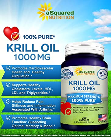 Amazon.com: Pure Krill Oil 1000mg W/ Astaxanthin & Omega 3 Xl (200 ...