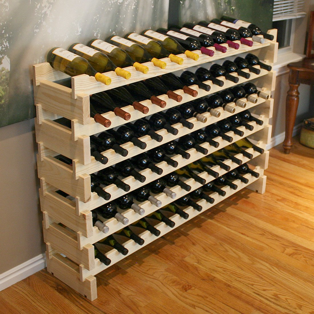 Creekside 72 Bottle Long Scalloped Wine Rack (Pine) by Creekside - Easily stack multiple units - hardware and assembly free. Hand-sanded to perfection!, Pine