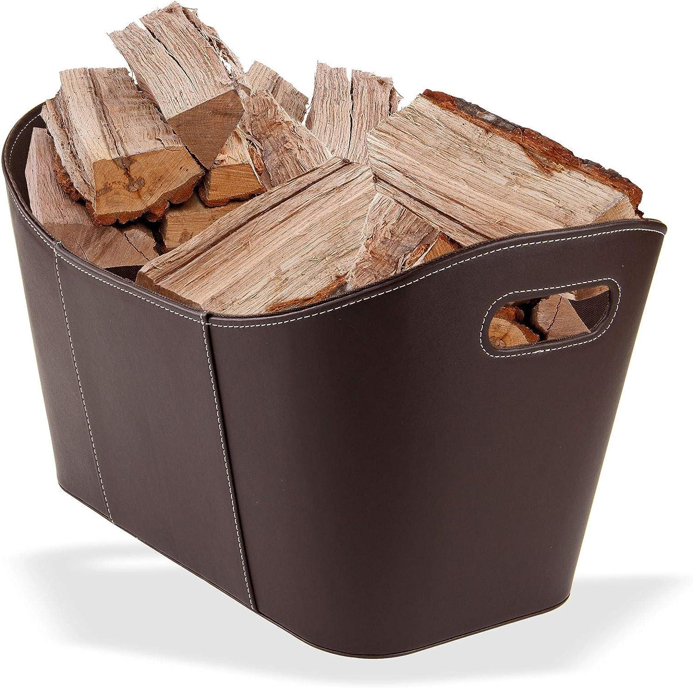 Holzkorb Kaminholztasche aus hochwertigem Kunstleder in Schwarz und Braun 53 x 35 x 31 cm Brennholzkorb Braun Kaminholzkorb