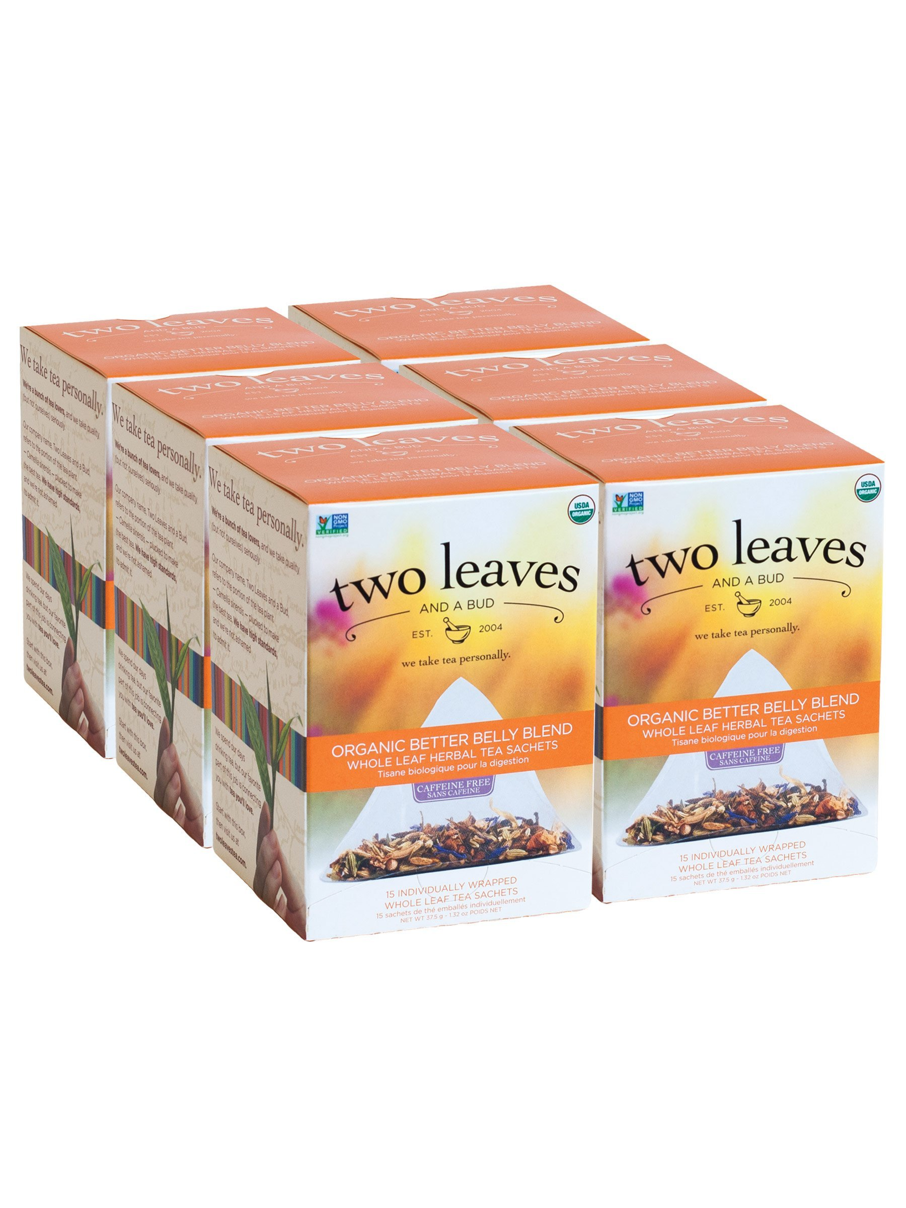 Two Leaves and a Bud Organic Better Belly Blend Herbal Tea Bags, 15 Count (Pack of 6) Organic Whole Leaf Herbal Tea in Pyramid Sachet Bags, Delicious Hot or Iced with Milk or Sugar or Honey or Plain