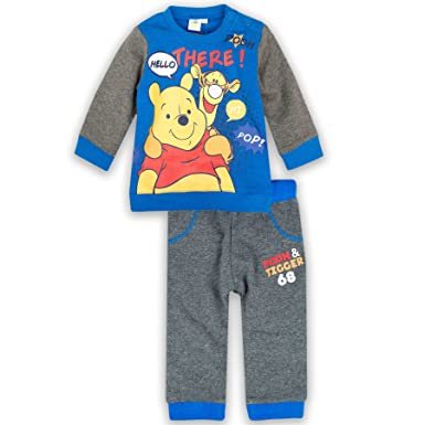 149d434fdc472 Disney Winnie the Pooh Baby Boys Outfit Set Tracksuit Long Sleeve Top  Jumper + Trousers Joggers - Navy 23M: Amazon.co.uk: Clothing