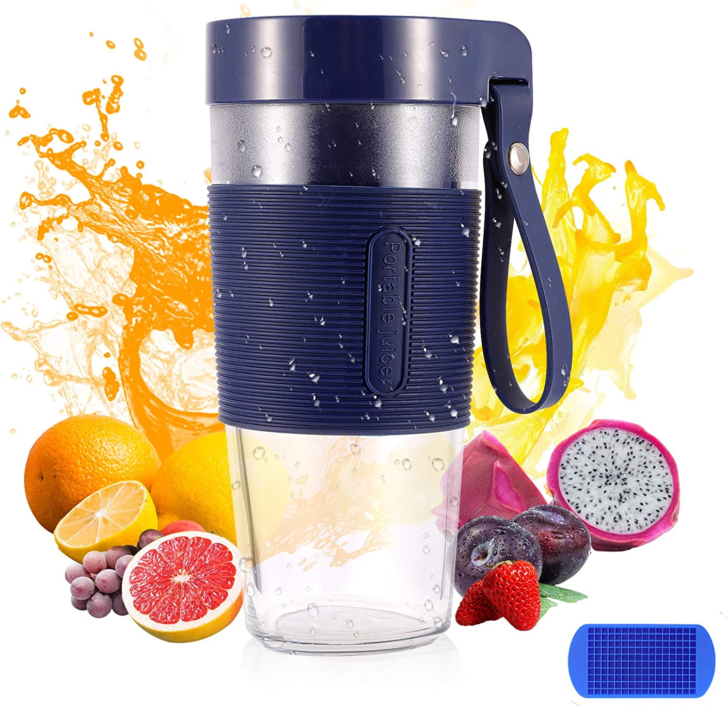 Portable Blender, Personal Blender for Smoothies and Shakes, 12OZ Mini Small Blender with Usb Rechargeable, BPA Free Blender Jucie Cup for Kitchen, Sports, Travel, Gym, home and office( Blue)