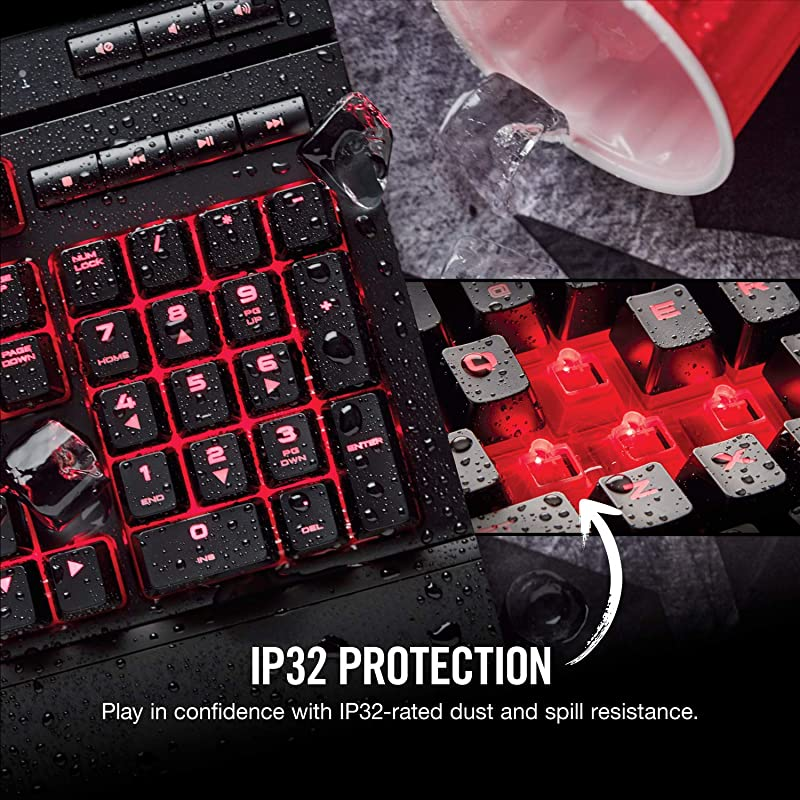 Corsair K68 Mechanical Gaming Keyboard, Backlit Red LED, Dust and Spill Resistant