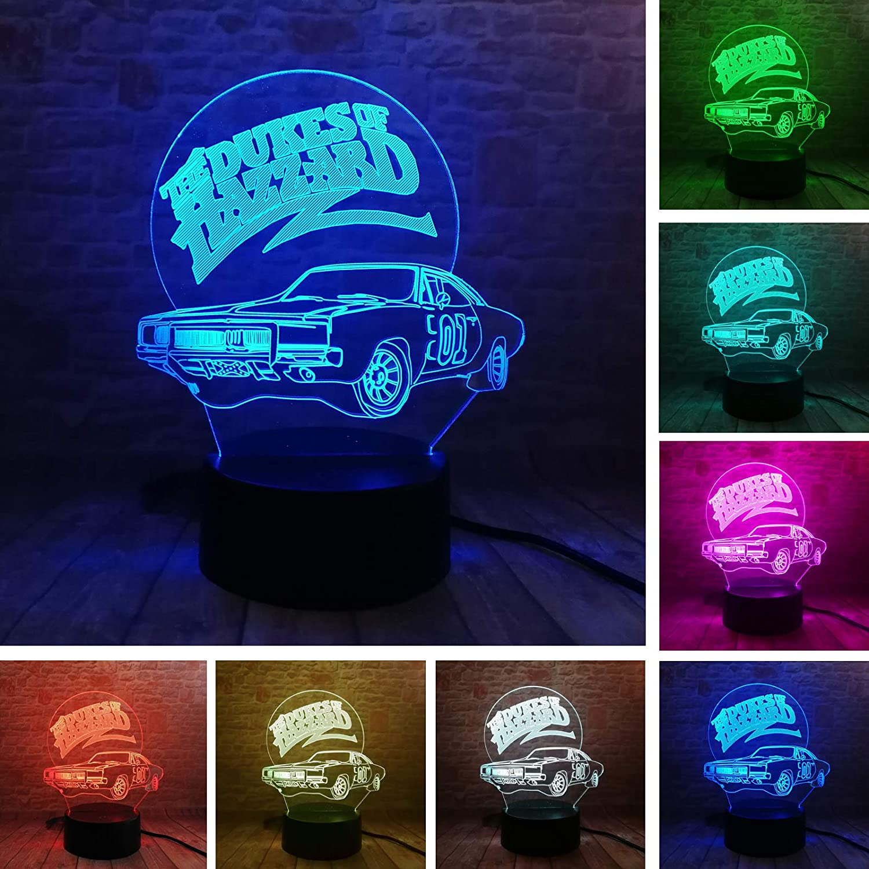 Fanrui 3D Lamp 01 AUTO The Dukes of Hazzard General Lee Car Night Light Multicolor LED 7 Colors Change Smart Boys Table Luminary Child Bedroom Decor Men Kids Bros Dad Xmas Birthday Holiday Toys Gift