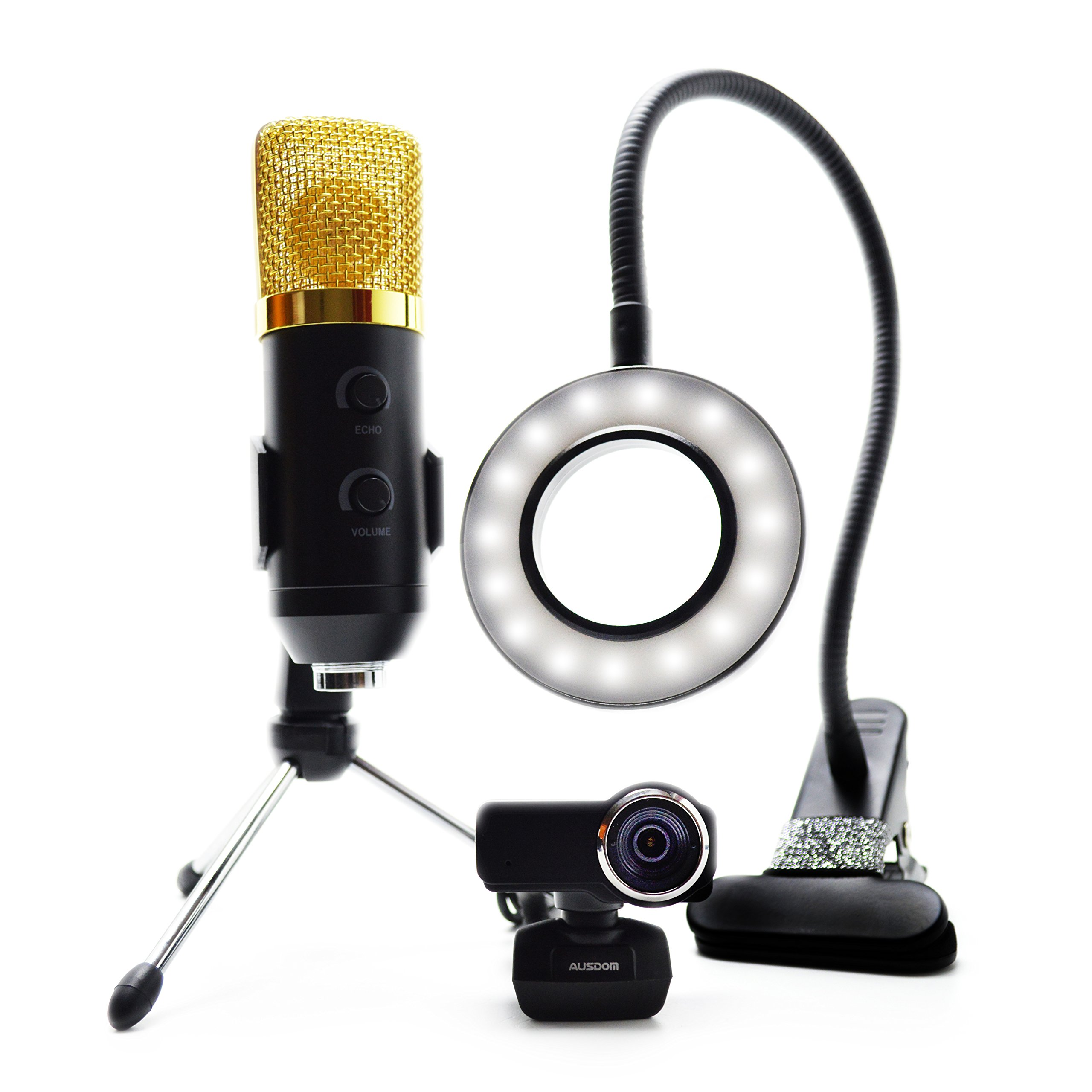 Streaming Camera, Streaming equipment kit Includes 1080p Webcam HD, Streaming Usb Microphone, and LED Video Light. Perfect for Twitch, YouTube, OBS, Mixer, and Skype