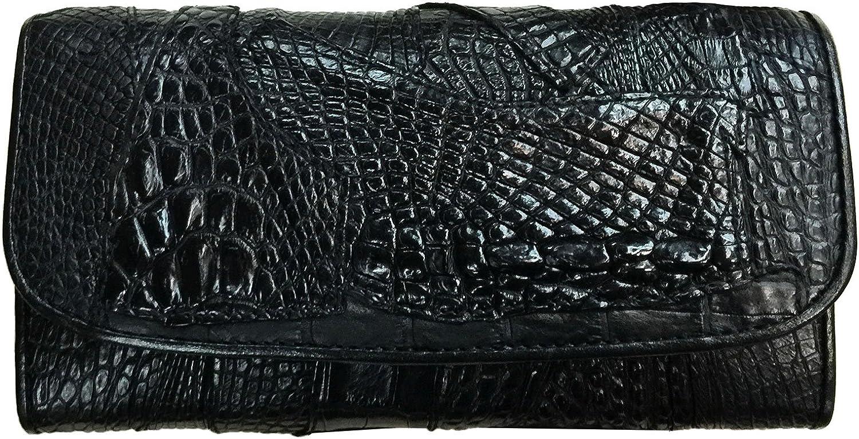 D'SHARK Genuine Crocodile Skin Leather Trifold Long Wallet Purse Clutch Bag for Women (DSCL-CBW1 Black)