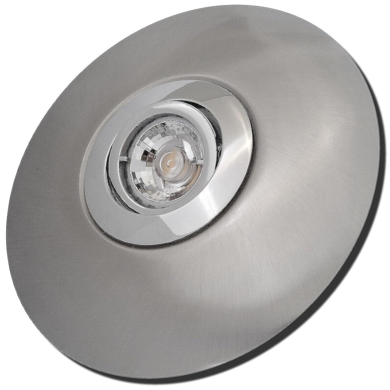 9 Stück MCOB LED Einbaustrahler Big Laura 230 Volt 7 Watt Schwenkbar Chrom + Edelstahl geb. / Warmweiß