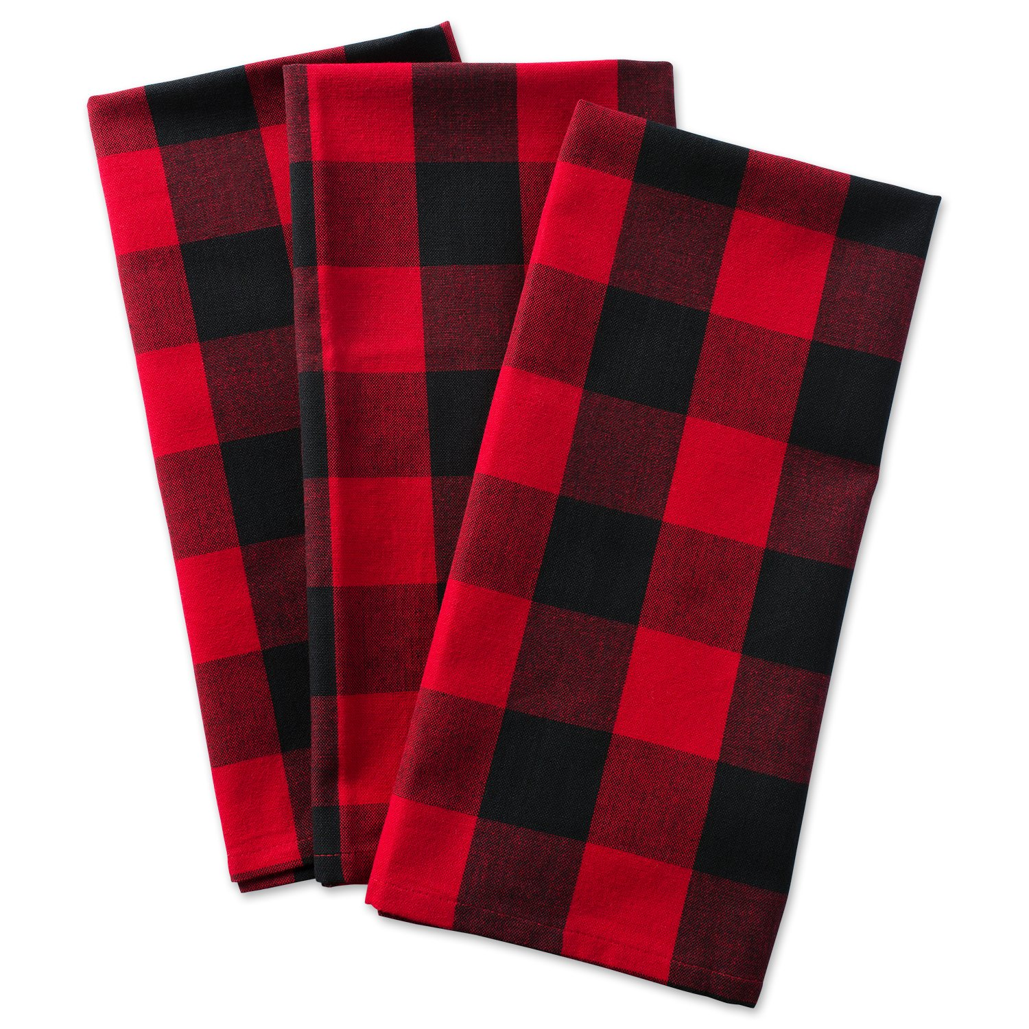 DII Cotton Buffalo Check Plaid Dish Towels, (20x30, Set of 3) Monogrammable Oversized Kitchen Towels for Drying, Cleaning, Cooking, Baking - Red & Black