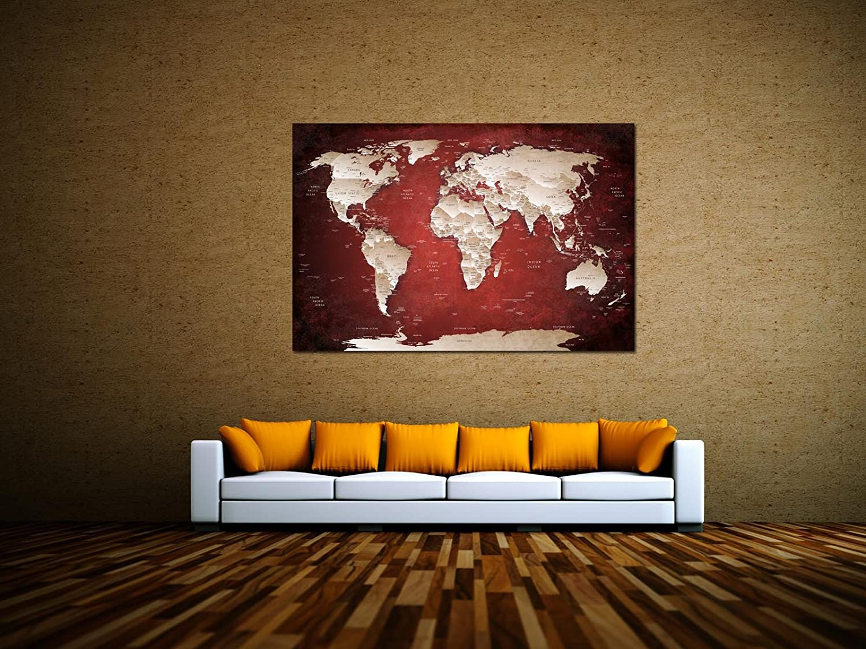 Alu-Dibond Wandbild ROT STYLE WELTKARTE WELTKARTE WELTKARTE Globus AB-842 Butlerfinish® 90 x 60 cm, Wandbild Edel gebürstete Aluminium-Verbundplatte, Metall effekt Eyecatcher  16123b