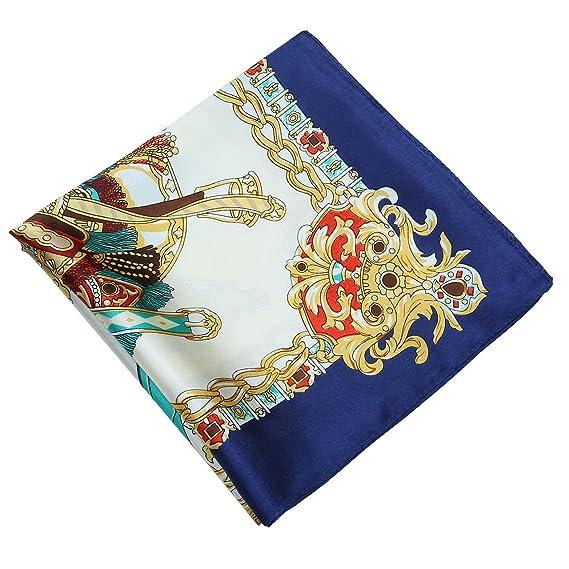 CHIC DIARY Mode Petit Carré de Foulard Scarf en Factice Soie Square Motif  d Impression Bohème Femme pour Vêtement Décor(90cm 90cm)-Bleu marine   Amazon.fr  ... ef0788a2d56