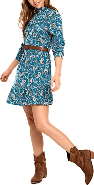 LC WAIKIKI Damen Viskose Kleid mit Krause-Detail und Gürtel