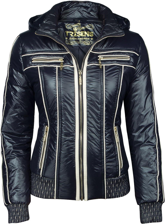 Trisens kurze Jacke in Leder Optik für Damen in Schwarz oder