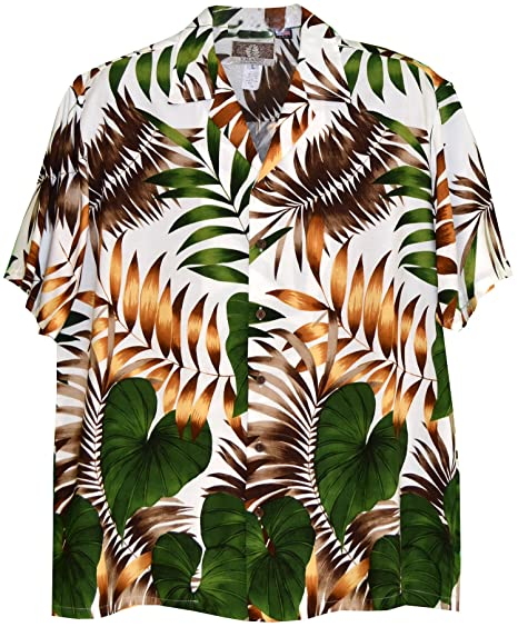 d37b1e6c Men's Jungle Experience Bottom Band Hawaiian Aloha Rayon Shirt in Cream - S