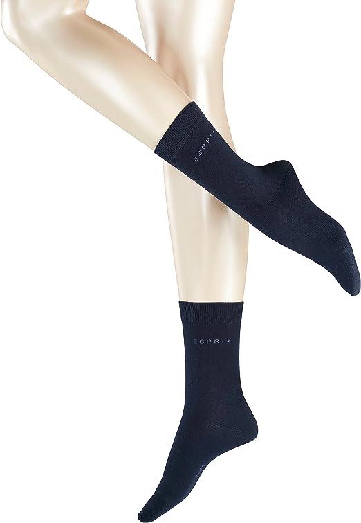 Esprit Socken Uni 2 Pack Baumwolle Damen Schwarz Grau Viele Weitere Farben Verstärkte Damensocken Ohne Muster Atmungsaktiv Dünn Und Einfarbig Im Multipack 2 Paar Bekleidung