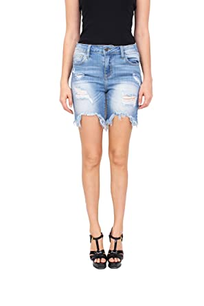 291aa4707e Cello Jeans Women High Rise Distressed Bermuda Jeans with Uneven Fray Hem 9  Light Denim at Amazon Women's Jeans store