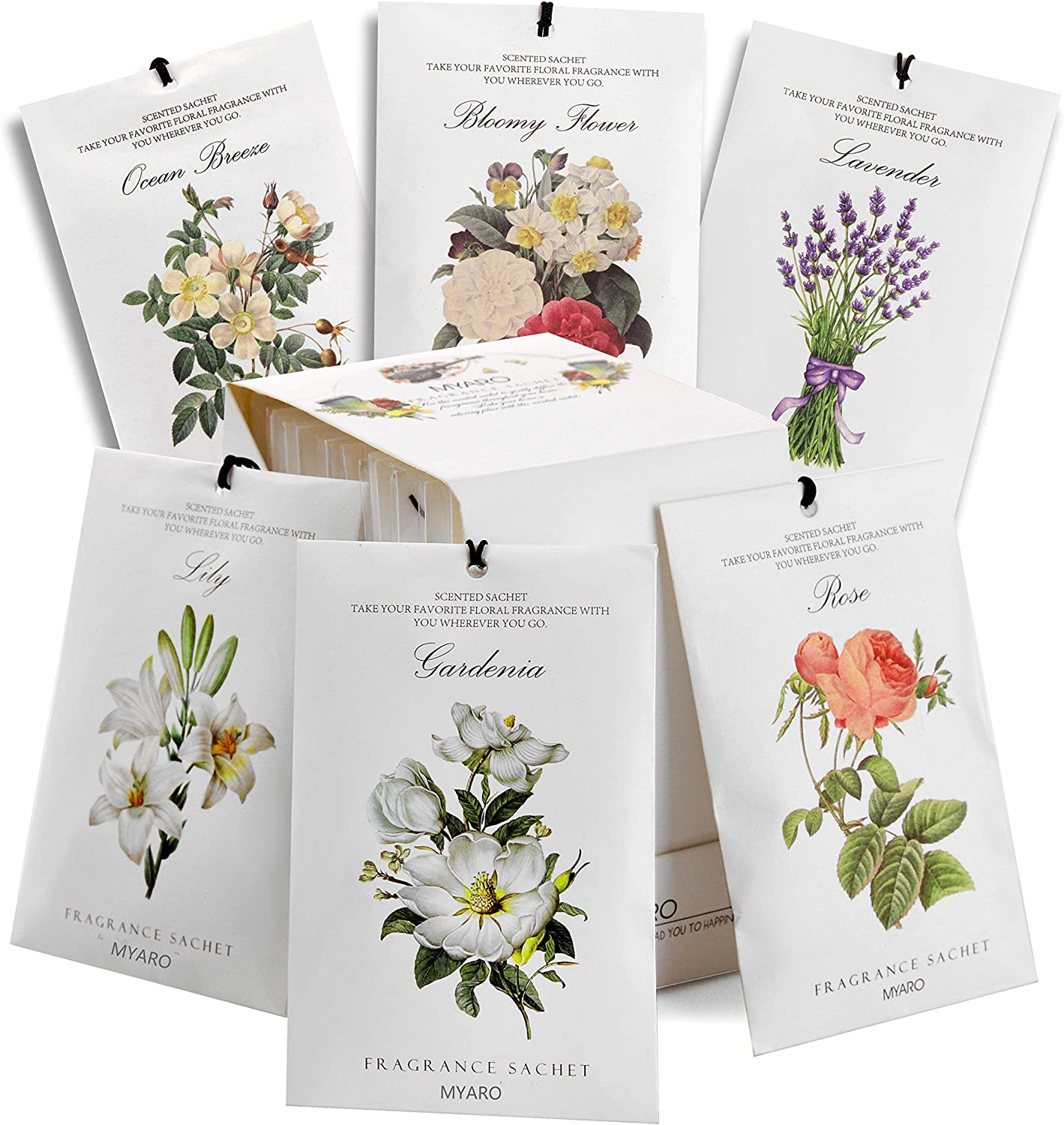 MYARO 12 Packs Scented Sachets for Drawer and Closet, Long-Lasting Sachets Bags Home Fragrance Sachet 6 Scents Option- Lavender, Rose, Jasmine, Ocean, Gardenia, Lily