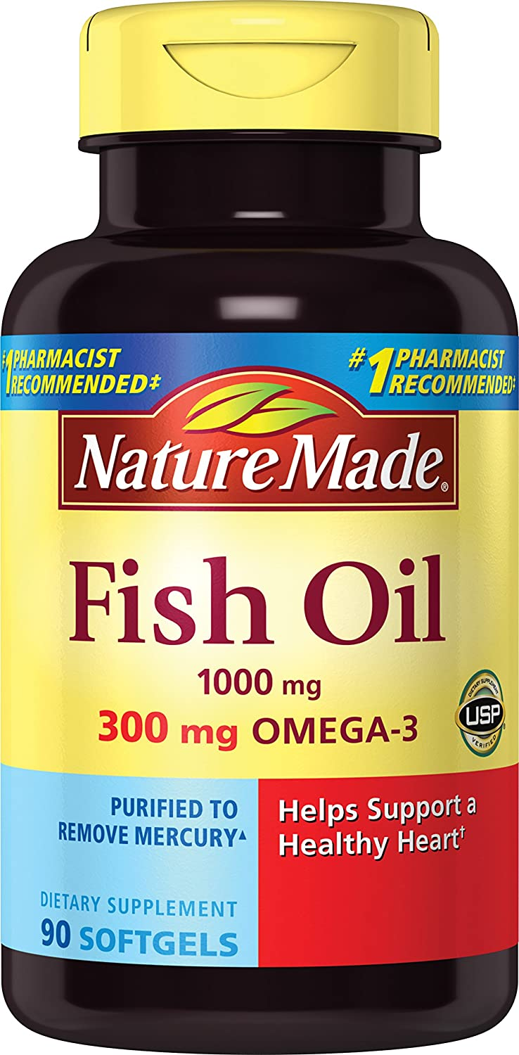 Amazon.com: Nature Made Fish Oil 1000 mg w. Omega-3 300 mg Softgels (90 Count Pack of 3): Health & Personal Care