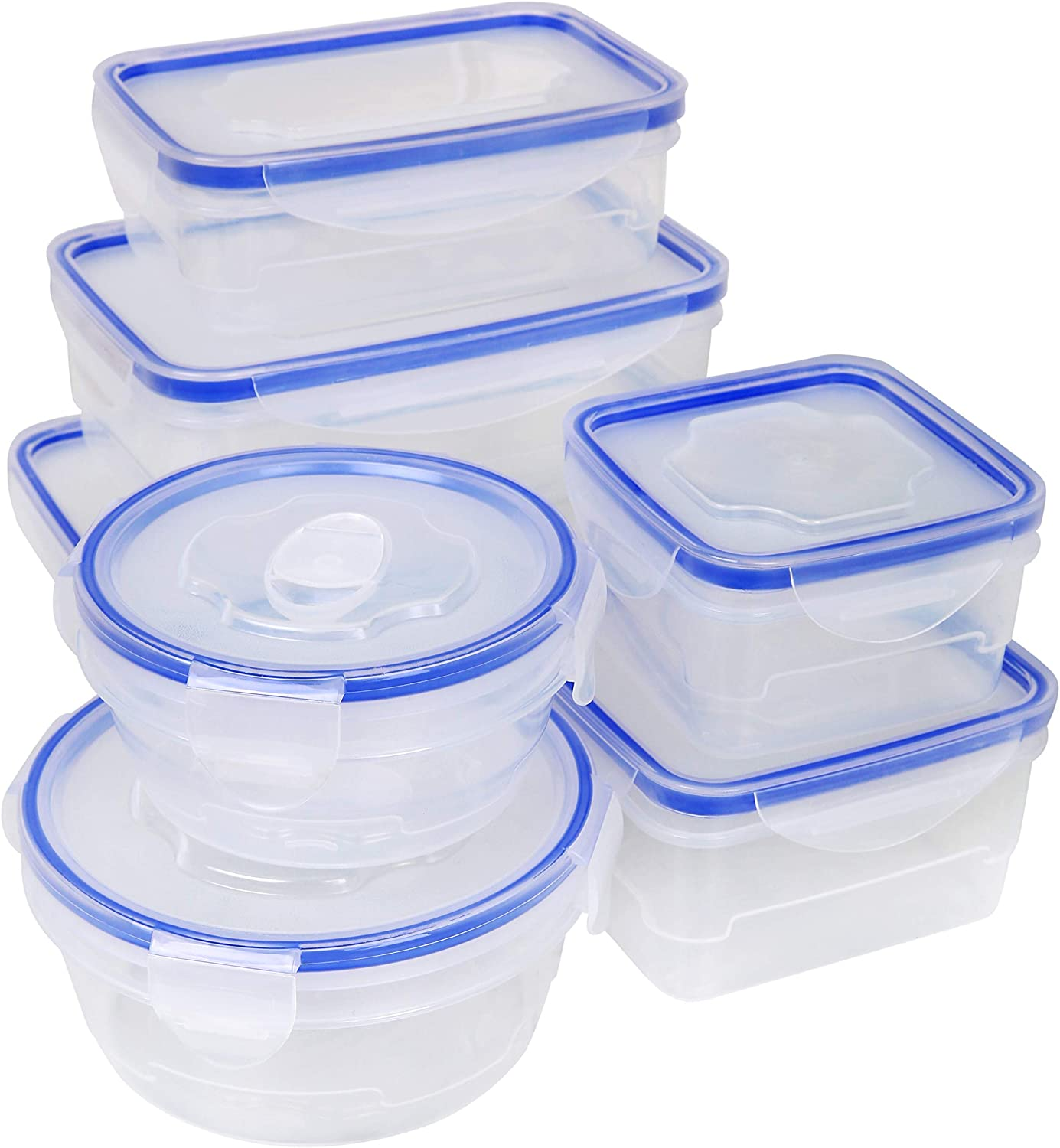 Kitchen Details, Kitchen Pantry, BPA Free 16 Piece Food Storage Container Set with Airtight, Clip-Lock Lids, Teal