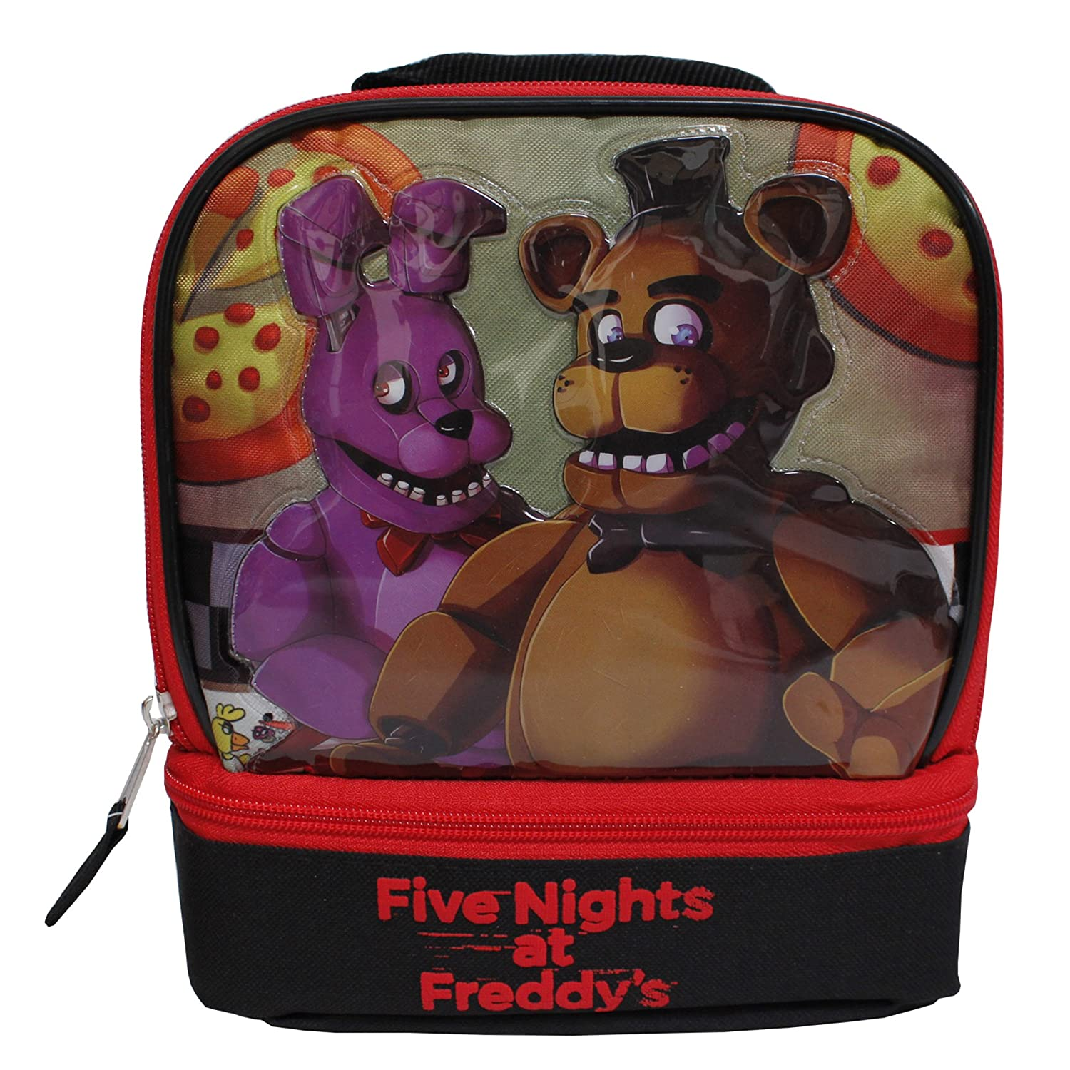 Five Nights At At At Freddy's - Bolso escolar con aislamiento, color negro y rojo b08c9a