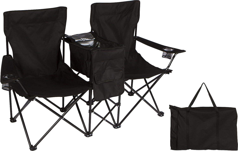 5.2 'ポータブル2-seater Foldingラブシート椅子with Full Back & Attached Cooler by Trademark Innovations (ブラック) B0759LX39Z
