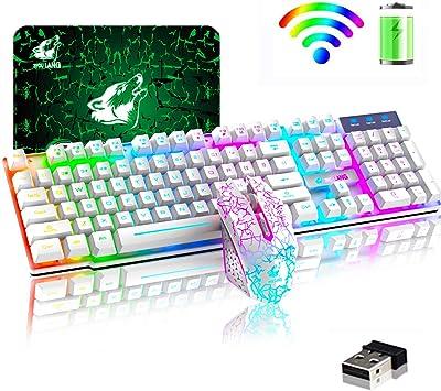 Teclado inalámbrico Combo de mouse Rainbow retroiluminado 2.4 ...