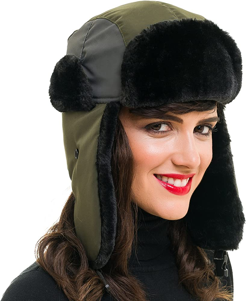 8bdca8049 Trapper Bomber Hat for Men and Women Russian Warm Fur Ski Spring Winter  Hunting