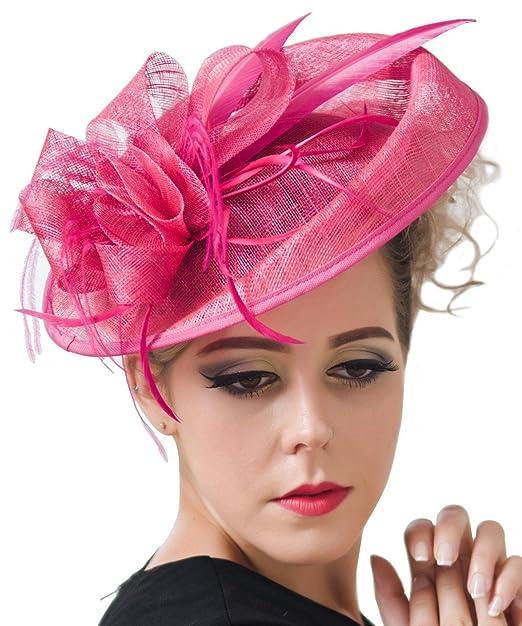CLOCOLOR Sombrero Tocado fascinator de pelo con pluma de moda Clips  sombreros Adornos de Pelo para 2ad506db0eb5